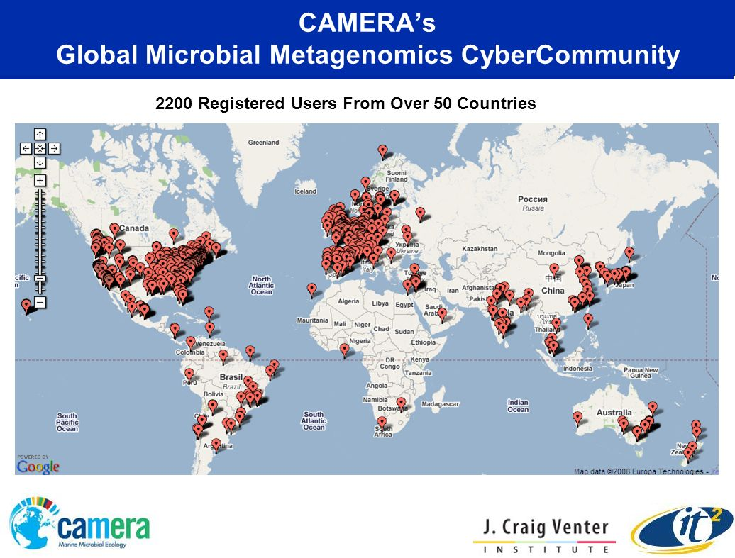 CAMERAs Global Microbial Metagenomics CyberCommunity 2200 Registered Users From Over 50 Countries