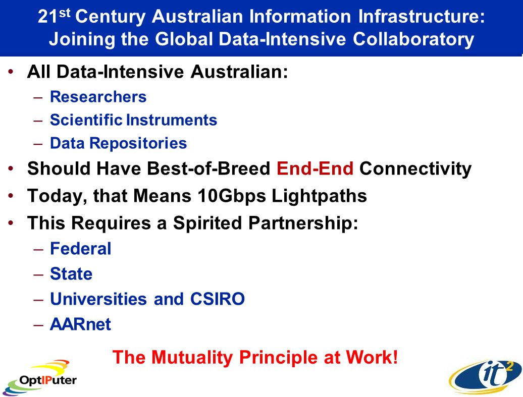 21 st Century Australian Information Infrastructure: Joining the Global Data-Intensive Collaboratory All Data-Intensive Australian: –Researchers –Scientific Instruments –Data Repositories Should Have Best-of-Breed End-End Connectivity Today, that Means 10Gbps Lightpaths This Requires a Spirited Partnership: –Federal –State –Universities and CSIRO –AARnet The Mutuality Principle at Work!