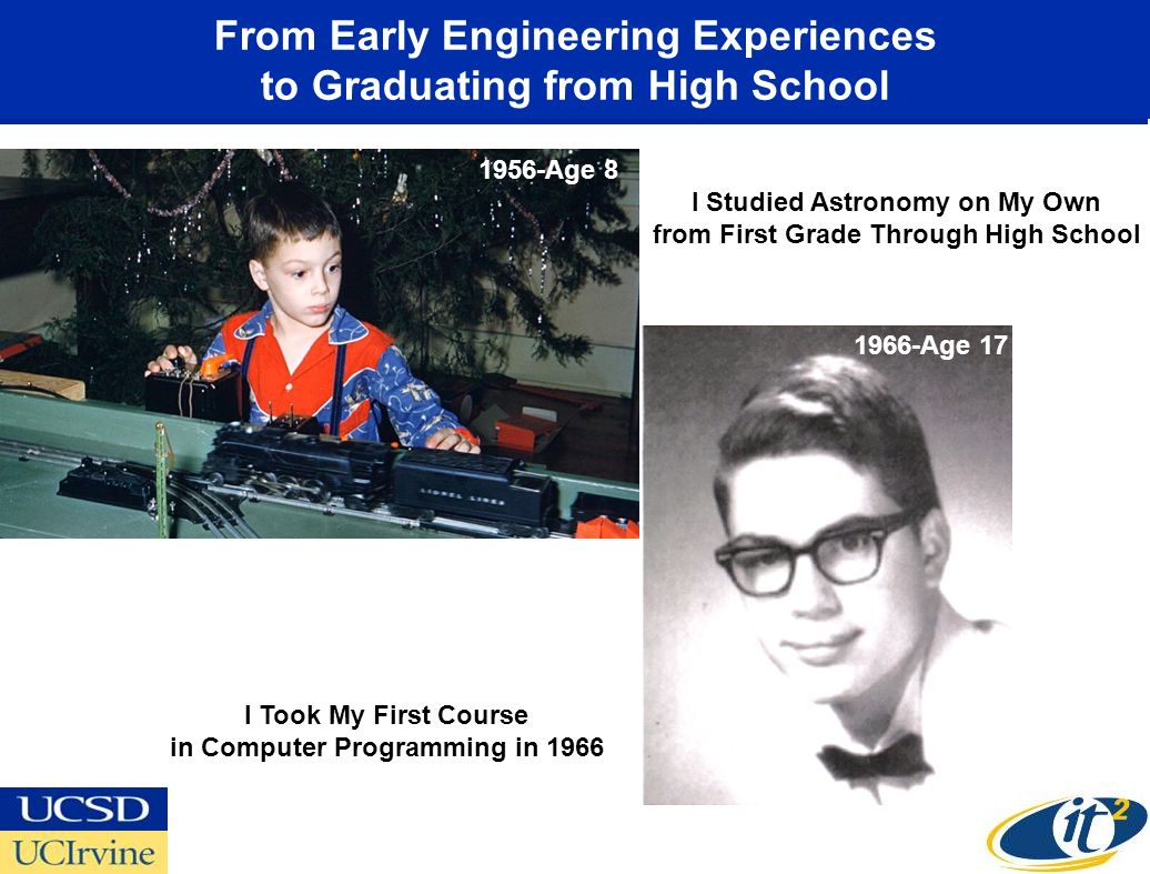 From Early Engineering Experiences to Graduating from High School 1966-Age 17 1956-Age 8 I Studied Astronomy on My Own from First Grade Through High School I Took My First Course in Computer Programming in 1966