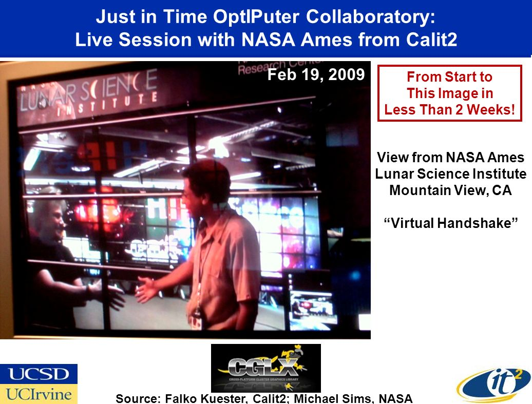 Just in Time OptIPuter Collaboratory: Live Session with NASA Ames from Calit2 Source: Falko Kuester, Calit2; Michael Sims, NASA View from NASA Ames Lunar Science Institute Mountain View, CA Virtual Handshake From Start to This Image in Less Than 2 Weeks.