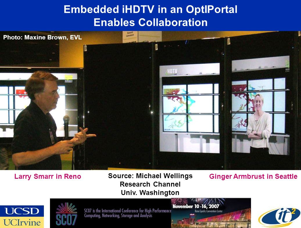 Embedded iHDTV in an OptIPortal Enables Collaboration Ginger Armbrust in Seattle Larry Smarr in Reno Source: Michael Wellings Research Channel Univ.