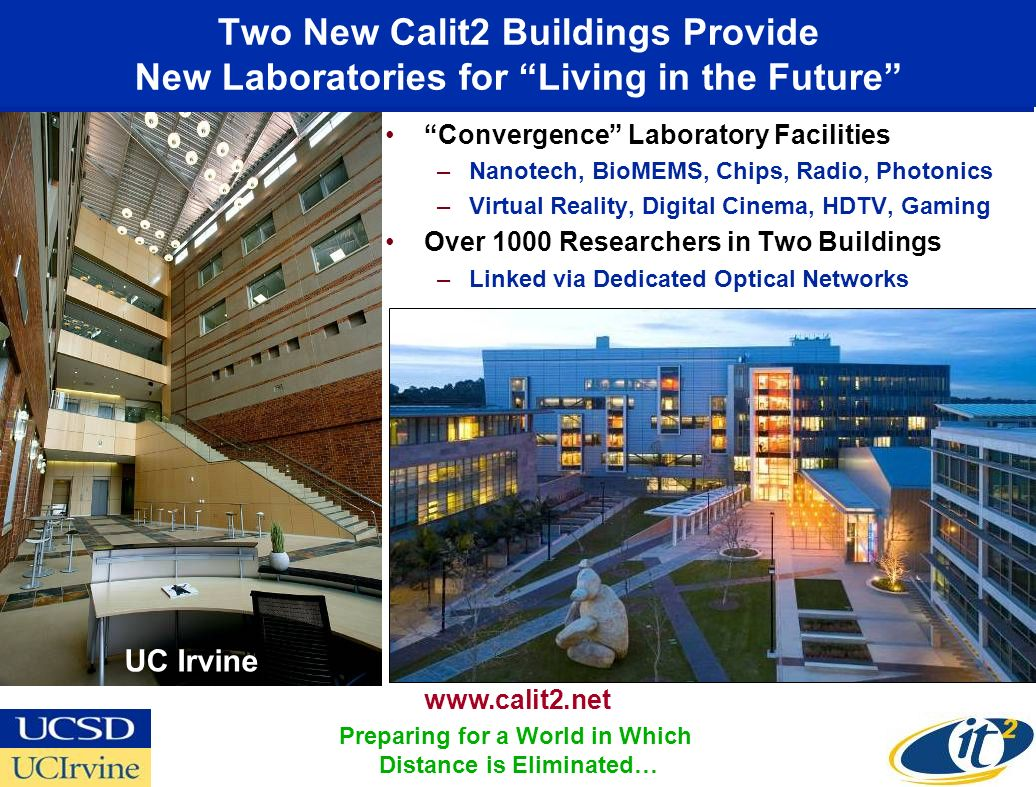 Two New Calit2 Buildings Provide New Laboratories for Living in the Future Convergence Laboratory Facilities –Nanotech, BioMEMS, Chips, Radio, Photonics –Virtual Reality, Digital Cinema, HDTV, Gaming Over 1000 Researchers in Two Buildings –Linked via Dedicated Optical Networks UC Irvine   Preparing for a World in Which Distance is Eliminated…