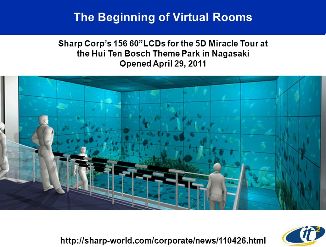 The Beginning of Virtual Rooms http://sharp-world.com/corporate/news/110426.html Sharp Corps 156 60LCDs for the 5D Miracle Tour at the Hui Ten Bosch Theme Park in Nagasaki Opened April 29, 2011