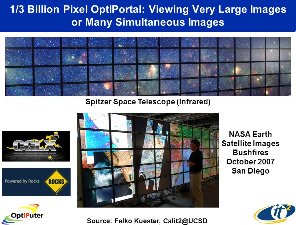 1/3 Billion Pixel OptIPortal: Viewing Very Large Images or Many Simultaneous Images Spitzer Space Telescope (Infrared) Source: Falko Kuester, Calit2@UCSD NASA Earth Satellite Images Bushfires October 2007 San Diego