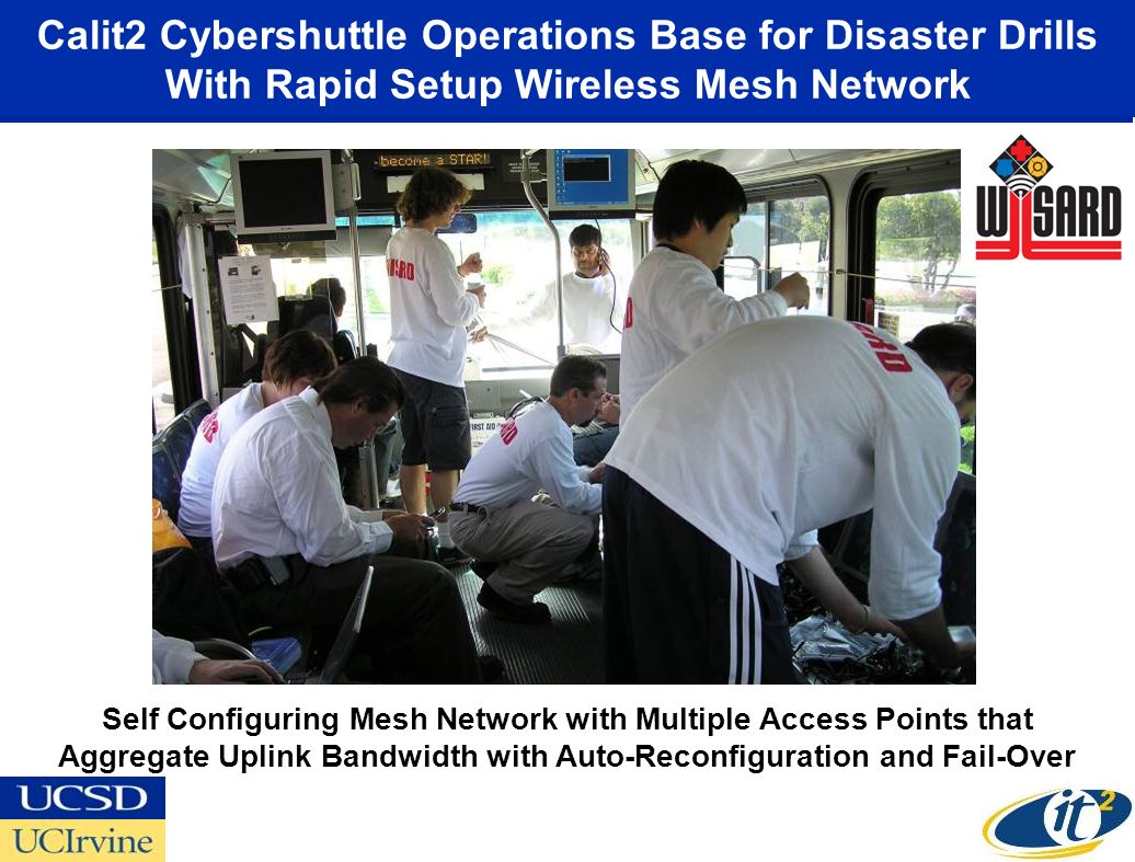 Calit2 Cybershuttle Operations Base for Disaster Drills With Rapid Setup Wireless Mesh Network Self Configuring Mesh Network with Multiple Access Points that Aggregate Uplink Bandwidth with Auto-Reconfiguration and Fail-Over