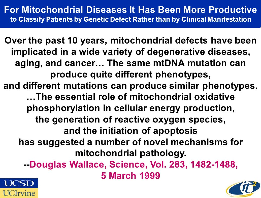 For Mitochondrial Diseases It Has Been More Productive to Classify Patients by Genetic Defect Rather than by Clinical Manifestation Over the past 10 years, mitochondrial defects have been implicated in a wide variety of degenerative diseases, aging, and cancer… The same mtDNA mutation can produce quite different phenotypes, and different mutations can produce similar phenotypes.