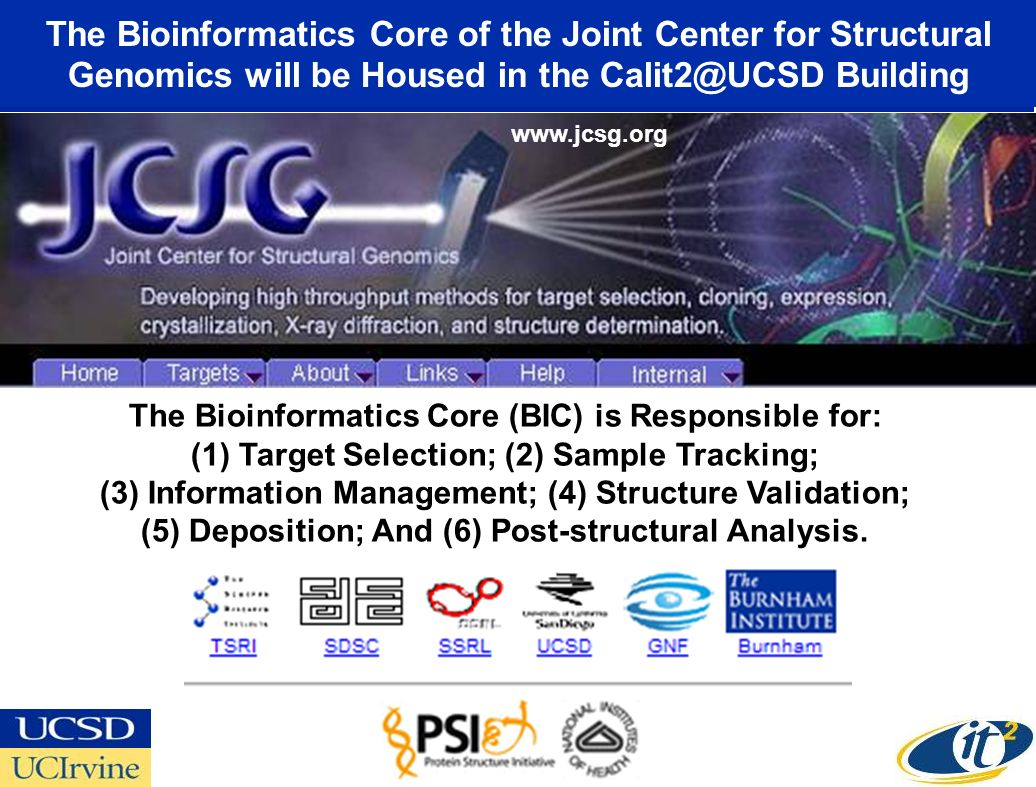 The Bioinformatics Core of the Joint Center for Structural Genomics will be Housed in the Calit2@UCSD Building The Bioinformatics Core (BIC) is Responsible for: (1)Target Selection; (2) Sample Tracking; (3) Information Management; (4) Structure Validation; (5) Deposition; And (6) Post-structural Analysis.