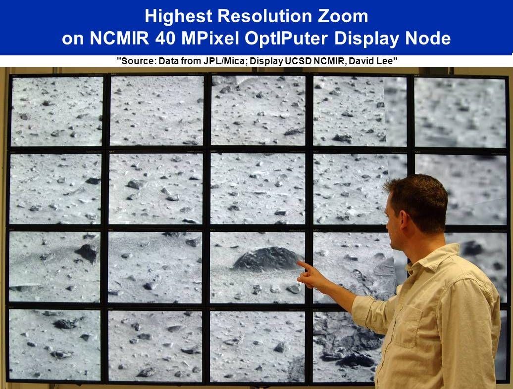 Highest Resolution Zoom on NCMIR 40 MPixel OptIPuter Display Node Source: Data from JPL/Mica; Display UCSD NCMIR, David Lee