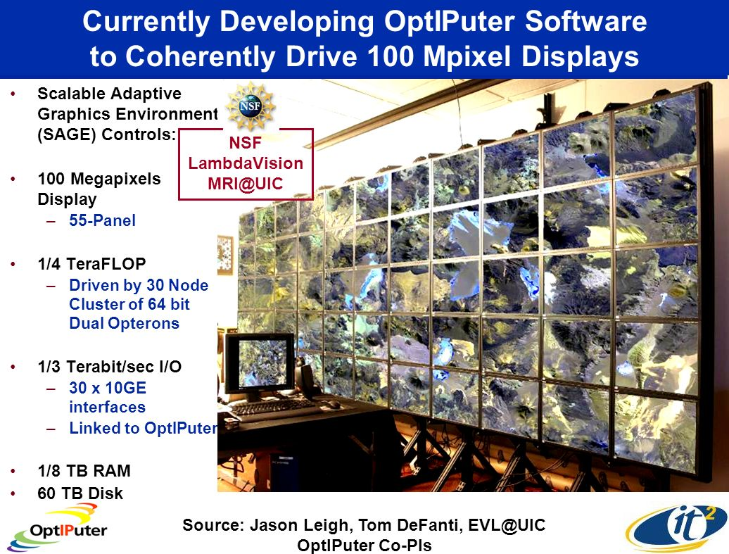Currently Developing OptIPuter Software to Coherently Drive 100 Mpixel Displays Scalable Adaptive Graphics Environment (SAGE) Controls: 100 Megapixels Display –55-Panel 1/4 TeraFLOP –Driven by 30 Node Cluster of 64 bit Dual Opterons 1/3 Terabit/sec I/O –30 x 10GE interfaces –Linked to OptIPuter 1/8 TB RAM 60 TB Disk Source: Jason Leigh, Tom DeFanti, EVL@UIC OptIPuter Co-PIs NSF LambdaVision MRI@UIC