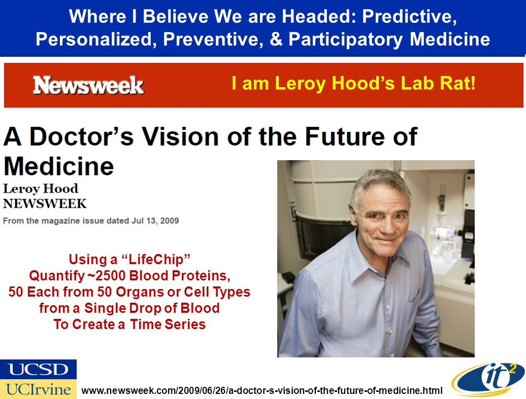 Where I Believe We are Headed: Predictive, Personalized, Preventive, & Participatory Medicine www.newsweek.com/2009/06/26/a-doctor-s-vision-of-the-future-of-medicine.html Using a LifeChip Quantify ~2500 Blood Proteins, 50 Each from 50 Organs or Cell Types from a Single Drop of Blood To Create a Time Series I am Leroy Hoods Lab Rat!