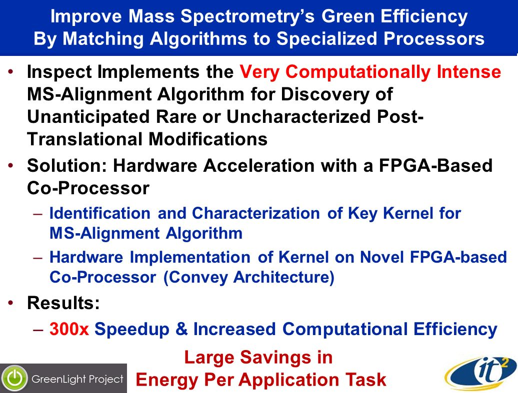Improve Mass Spectrometrys Green Efficiency By Matching Algorithms to Specialized Processors Inspect Implements the Very Computationally Intense MS-Alignment Algorithm for Discovery of Unanticipated Rare or Uncharacterized Post- Translational Modifications Solution: Hardware Acceleration with a FPGA-Based Co-Processor –Identification and Characterization of Key Kernel for MS-Alignment Algorithm –Hardware Implementation of Kernel on Novel FPGA-based Co-Processor (Convey Architecture) Results: –300x Speedup & Increased Computational Efficiency Large Savings in Energy Per Application Task