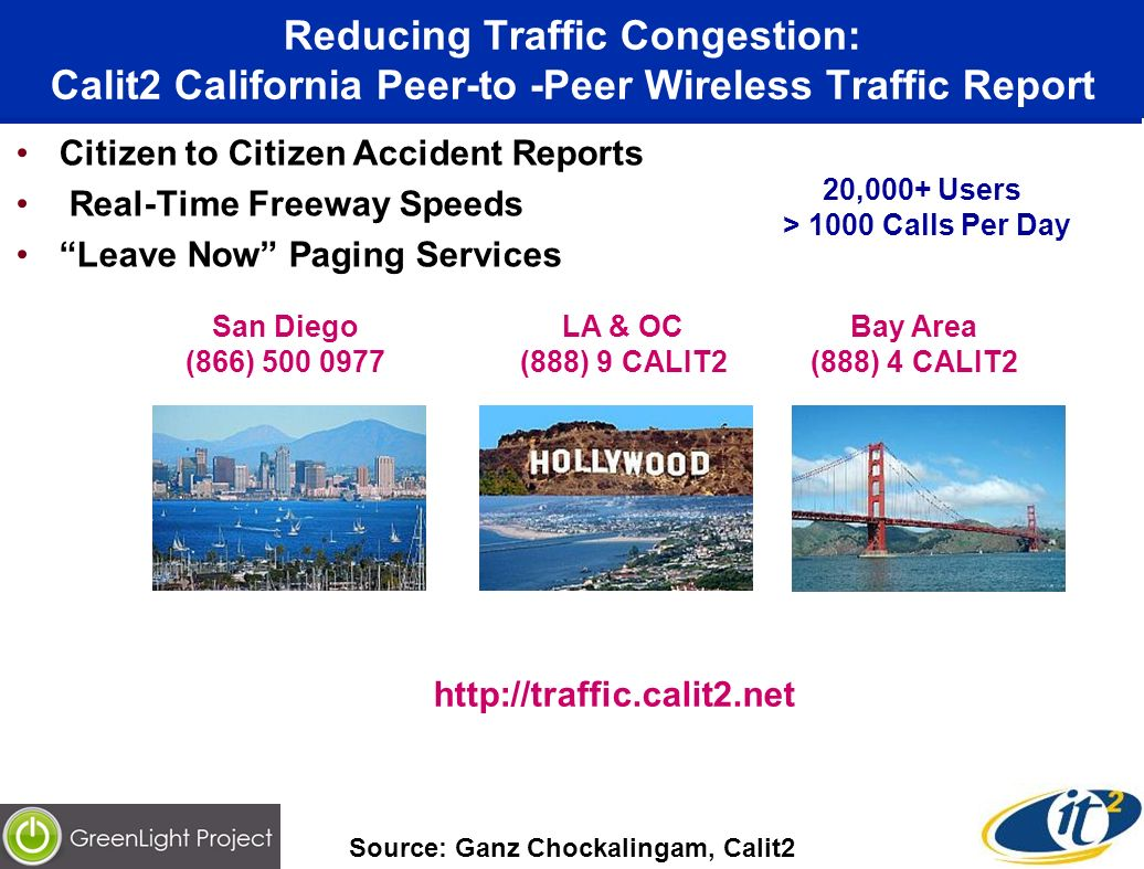 Reducing Traffic Congestion: Calit2 California Peer-to -Peer Wireless Traffic Report Citizen to Citizen Accident Reports Real-Time Freeway Speeds Leave Now Paging Services San Diego (866) 500 0977 LA & OC (888) 9 CALIT2 Bay Area (888) 4 CALIT2 http://traffic.calit2.net Source: Ganz Chockalingam, Calit2 20,000+ Users > 1000 Calls Per Day