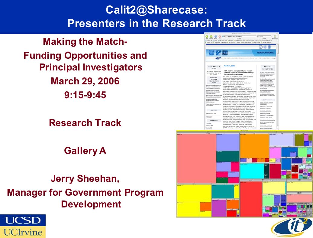 Calit2@Sharecase: Presenters in the Research Track Making the Match- Funding Opportunities and Principal Investigators March 29, 2006 9:15-9:45 Research Track Gallery A Jerry Sheehan, Manager for Government Program Development