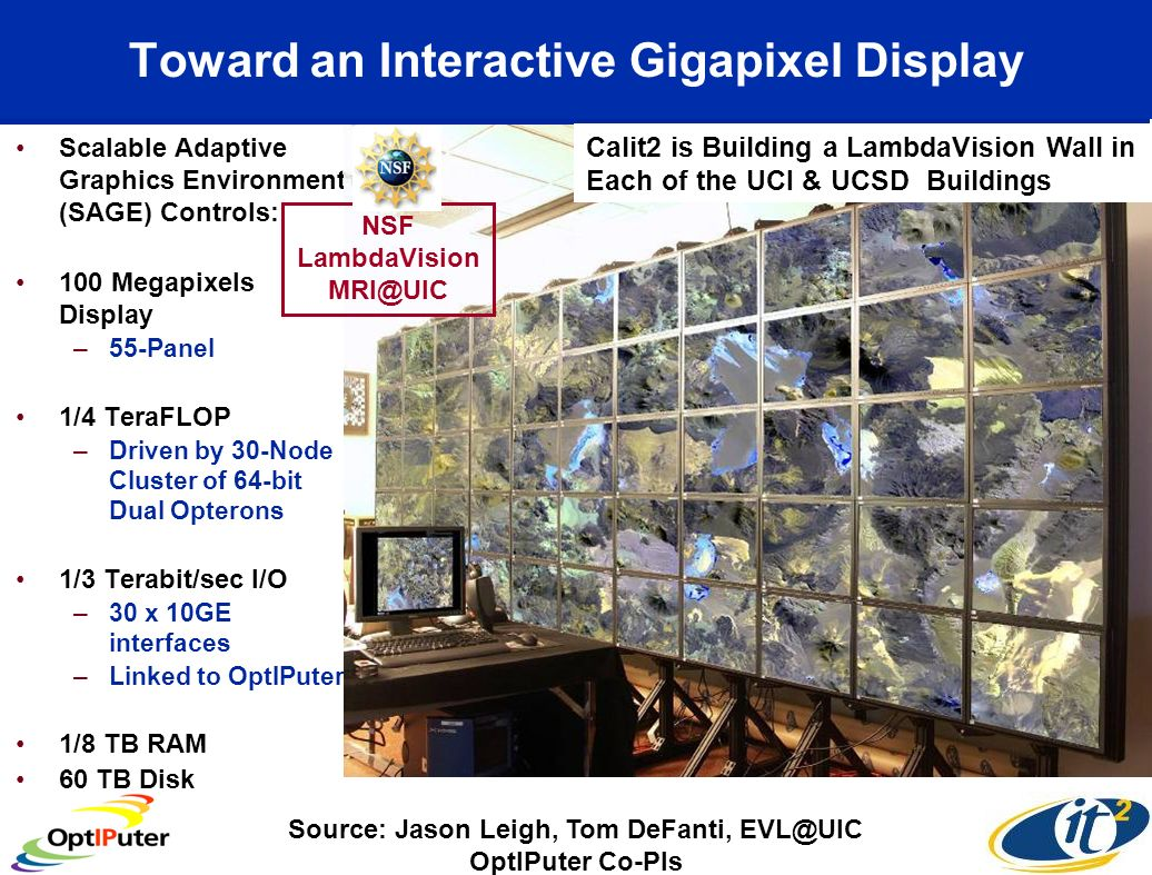 OptIPuter Scalable Displays Have Been Extended to Apple-Based Systems iWall Driven by iCluster Source: Atul Nayak, SIO Collaboration of Calit2/SIO/OptIPuter/USArray Source: Falko Kuester, Calit2@UCI NSF Infrastructure Grant See GEON Poster: iCluster : Visualizing USArray Data on a Scalable High Resolution Tiled Display Using the OptIPuter 16 Mpixels 50 Mpixels 36 Mpixels 100 Mpixels Apple G5s Mac Apple 30-inch Cinema HD Display