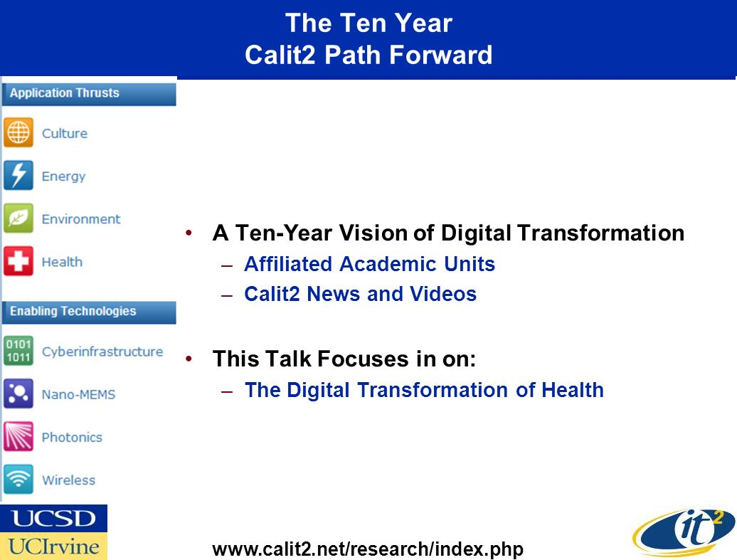 The Ten Year Calit2 Path Forward A Ten-Year Vision of Digital Transformation –Affiliated Academic Units –Calit2 News and Videos This Talk Focuses in on: –The Digital Transformation of Health www.calit2.net/research/index.php
