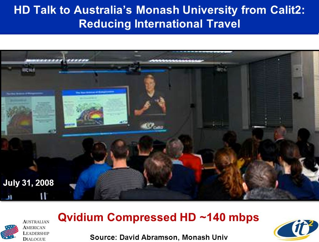 HD Talk to Australias Monash University from Calit2: Reducing International Travel July 31, 2008 Source: David Abramson, Monash Univ Qvidium Compressed HD ~140 mbps