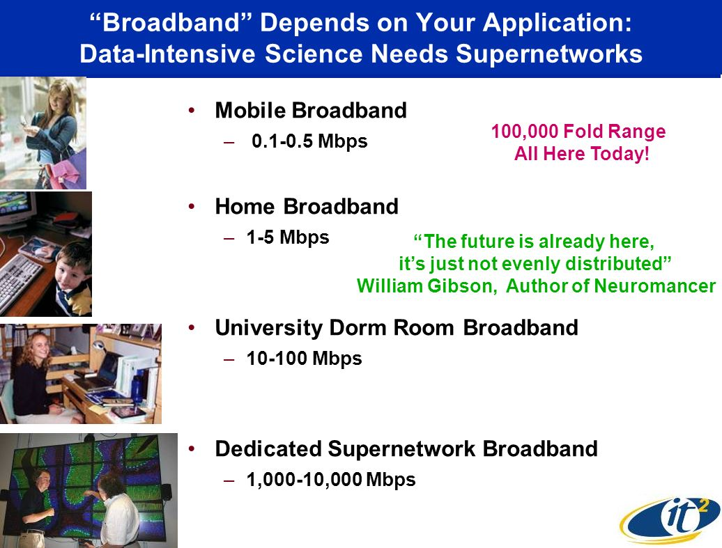 Broadband Depends on Your Application: Data-Intensive Science Needs Supernetworks Mobile Broadband – 0.1-0.5 Mbps Home Broadband –1-5 Mbps University