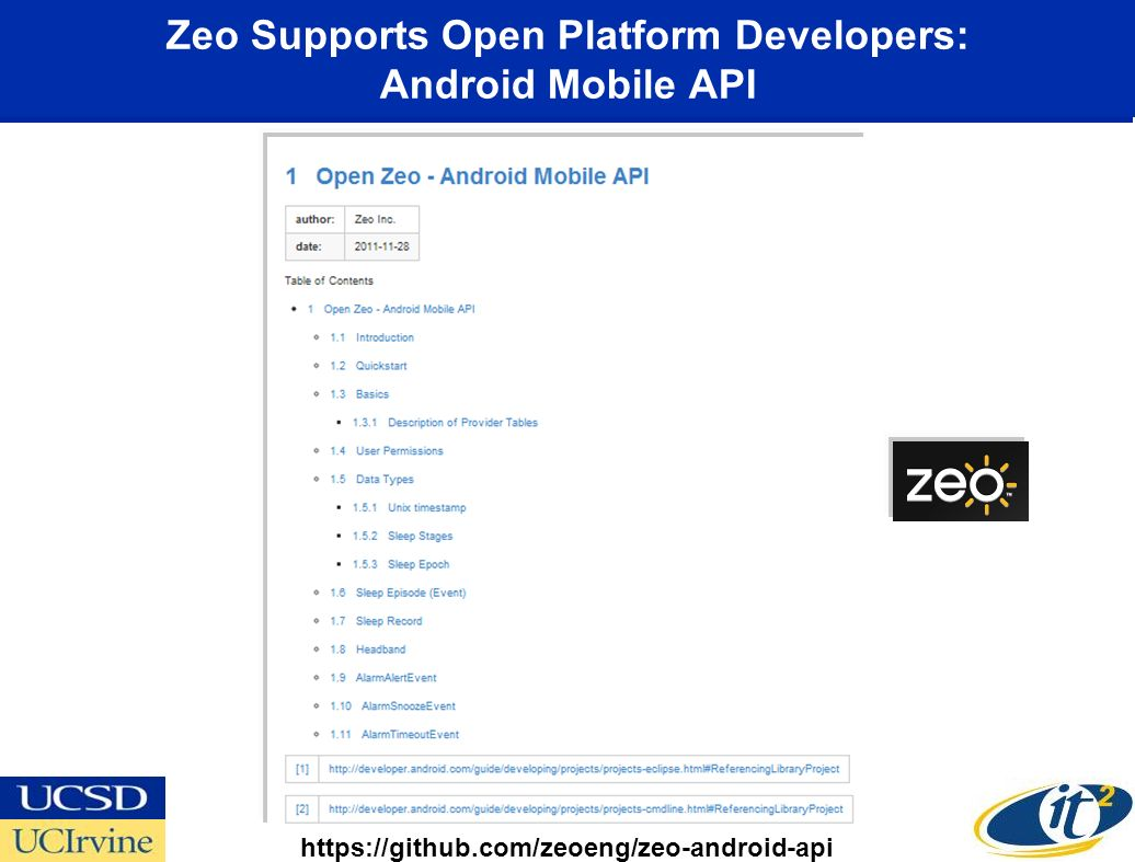 Zeo Supports Open Platform Developers: Android Mobile API https://github.com/zeoeng/zeo-android-api