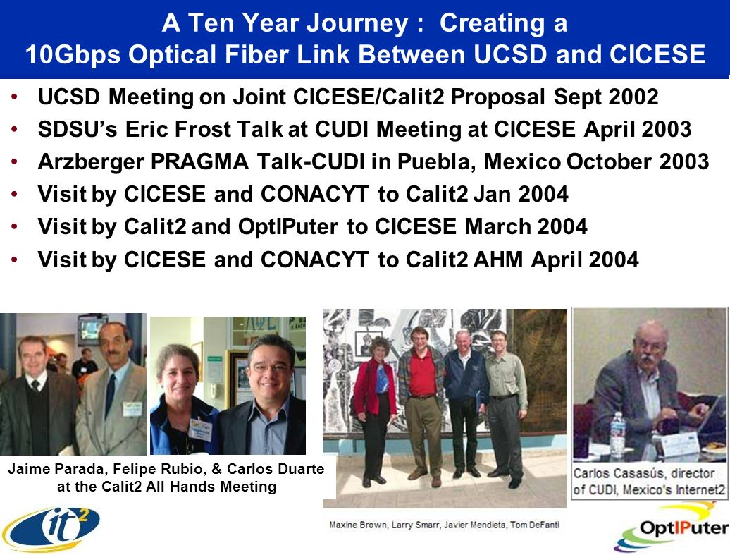 A Ten Year Journey : Creating a 10Gbps Optical Fiber Link Between UCSD and CICESE UCSD Meeting on Joint CICESE/Calit2 Proposal Sept 2002 SDSUs Eric Frost Talk at CUDI Meeting at CICESE April 2003 Arzberger PRAGMA Talk-CUDI in Puebla, Mexico October 2003 Visit by CICESE and CONACYT to Calit2 Jan 2004 Visit by Calit2 and OptIPuter to CICESE March 2004 Visit by CICESE and CONACYT to Calit2 AHM April 2004 Jaime Parada, Felipe Rubio, & Carlos Duarte at the Calit2 All Hands Meeting