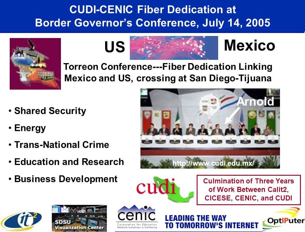 CUDI-CENIC Fiber Dedication at Border Governors Conference, July 14, 2005 Osaka Prof. Aoyama Prof. Smarr Torreon Conference---Fiber Dedication Linking