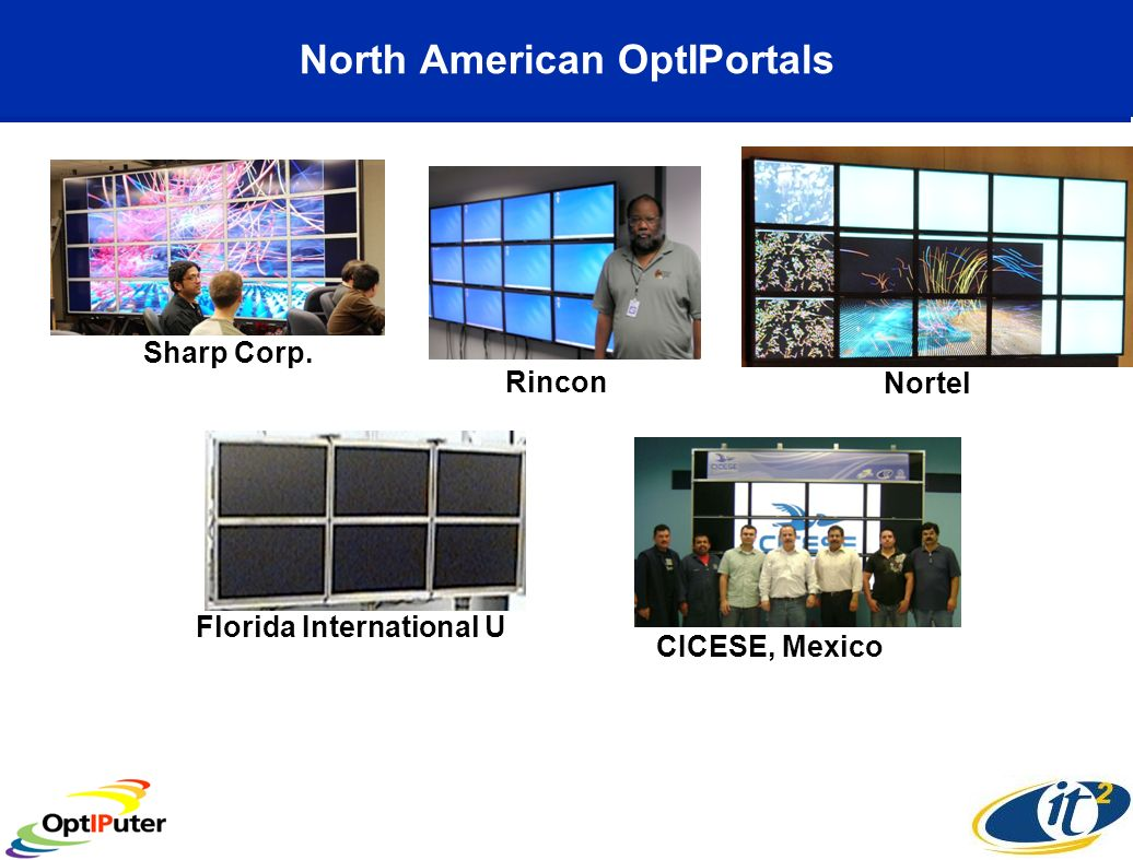North American OptIPortals CICESE, Mexico Nortel Florida International U Sharp Corp. Rincon