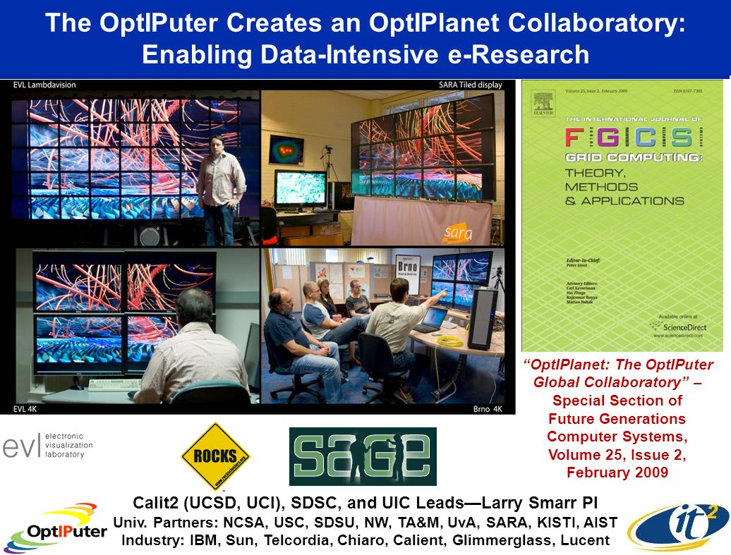 The OptIPuter Creates an OptIPlanet Collaboratory: Enabling Data-Intensive e-Research   OptIPlanet: The OptIPuter Global Collaboratory – Special Section of Future Generations Computer Systems, Volume 25, Issue 2, February 2009 Calit2 (UCSD, UCI), SDSC, and UIC LeadsLarry Smarr PI Univ.