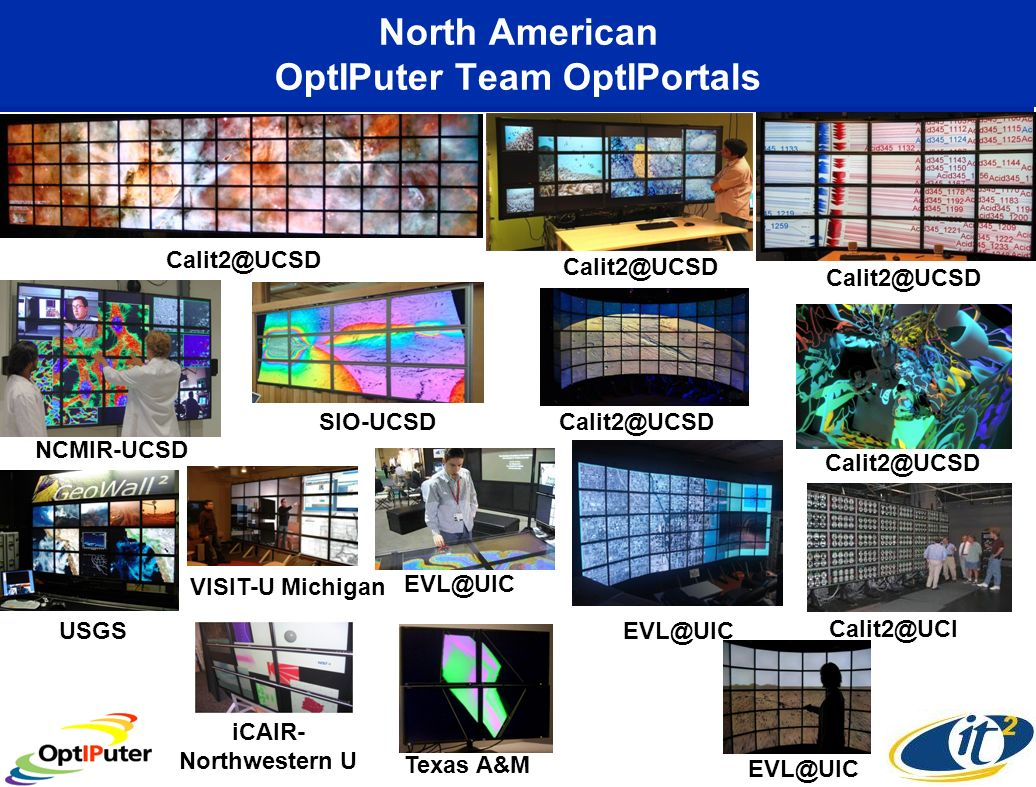 North American OptIPuter Team OptIPortals Calit2@UCI NCMIR-UCSD Calit2@UCSD EVL@UIC SIO-UCSD Texas A&M USGS Calit2@UCSD VISIT-U Michigan Calit2@UCSD iCAIR- Northwestern U EVL@UIC