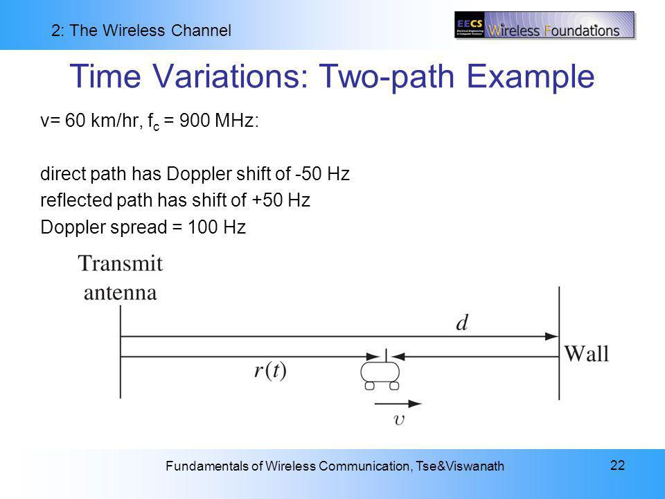 2: The Wireless Channel Fundamentals of Wireless Communication, Tse&Viswanath 22 Time Variations: Two-path Example v= 60 km/hr, f c = 900 MHz: direct path has Doppler shift of -50 Hz reflected path has shift of +50 Hz Doppler spread = 100 Hz