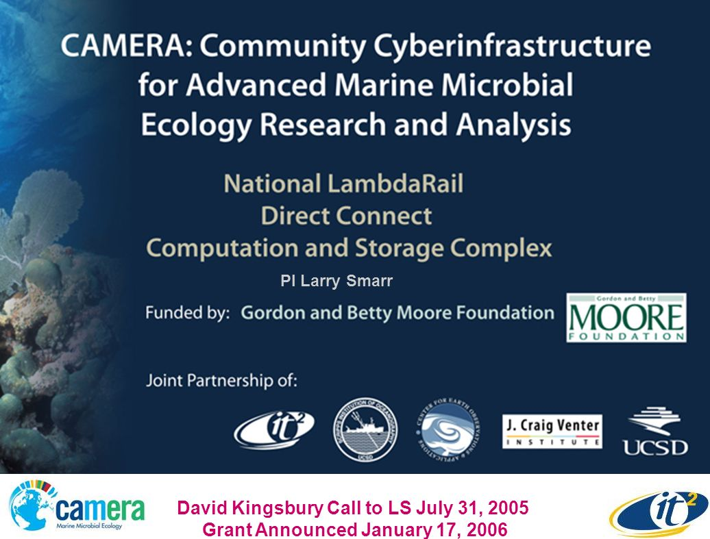 PI Larry Smarr David Kingsbury Call to LS July 31, 2005 Grant Announced January 17, 2006