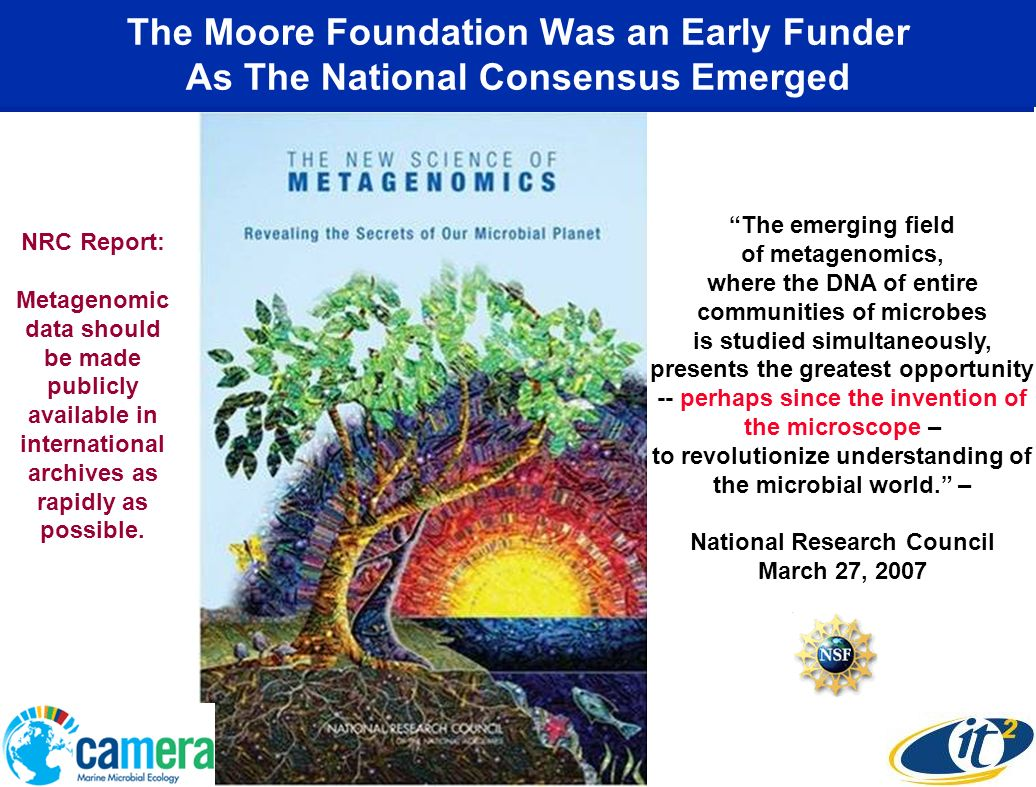 The Moore Foundation Was an Early Funder As The National Consensus Emerged The emerging field of metagenomics, where the DNA of entire communities of