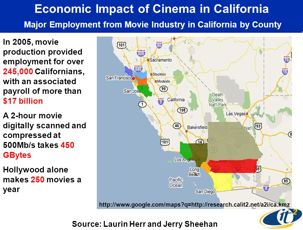 Economic Impact of Cinema in California Major Employment from Movie Industry in California by County In 2005, movie production provided employment for over 245,000 Californians, with an associated payroll of more than $17 billion A 2-hour movie digitally scanned and compressed at 500Mb/s takes 450 GBytes Hollywood alone makes 250 movies a year   q=  Source: Laurin Herr and Jerry Sheehan
