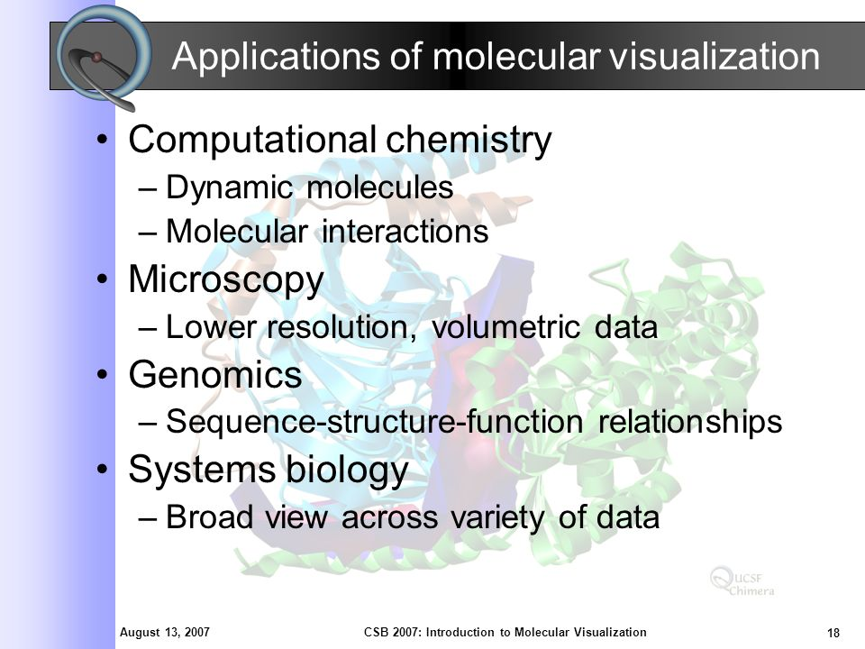 August 13, 2007 18 CSB 2007: Introduction to Molecular Visualization Applications of molecular visualization Computational chemistry –Dynamic molecules –Molecular interactions Microscopy –Lower resolution, volumetric data Genomics –Sequence-structure-function relationships Systems biology –Broad view across variety of data