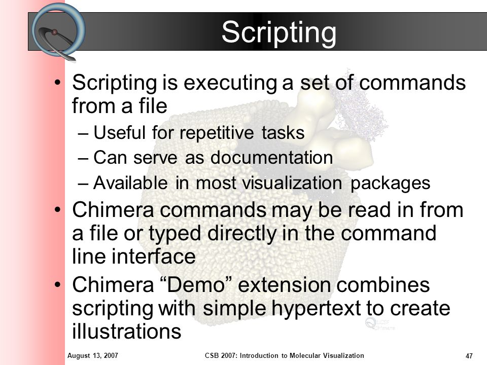 August 13, 2007 47 CSB 2007: Introduction to Molecular Visualization Scripting Scripting is executing a set of commands from a file –Useful for repetitive tasks –Can serve as documentation –Available in most visualization packages Chimera commands may be read in from a file or typed directly in the command line interface Chimera Demo extension combines scripting with simple hypertext to create illustrations