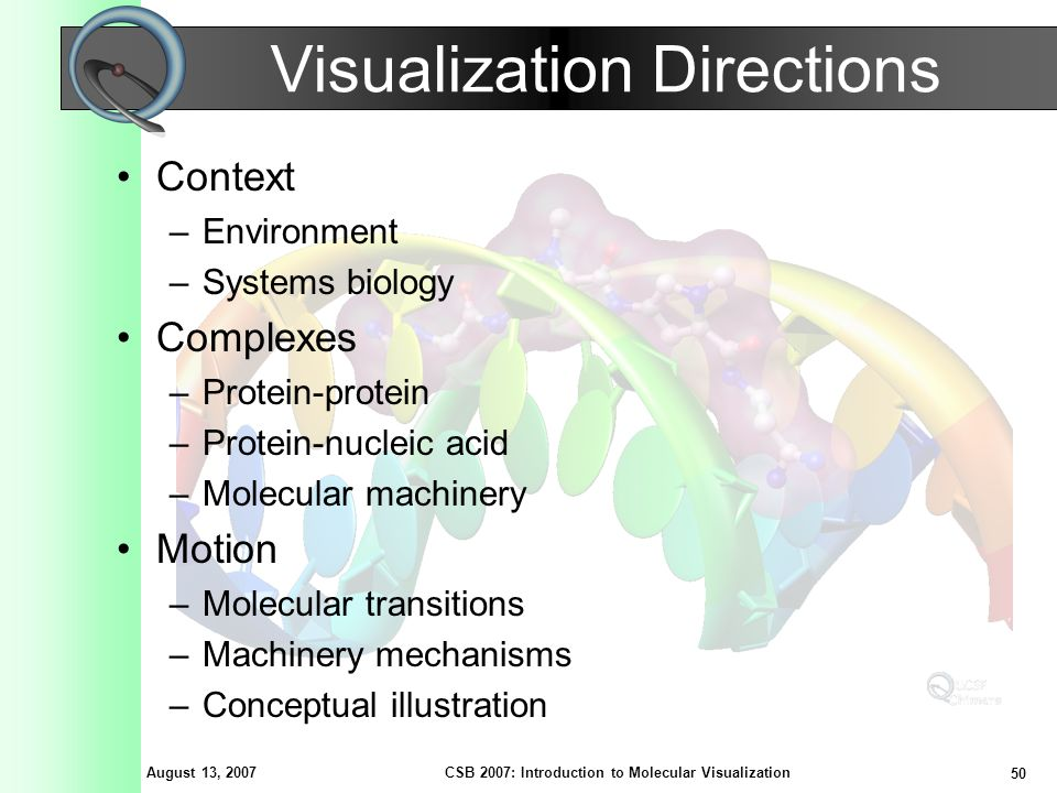 August 13, 2007 50 CSB 2007: Introduction to Molecular Visualization Visualization Directions Context –Environment –Systems biology Complexes –Protein-protein –Protein-nucleic acid –Molecular machinery Motion –Molecular transitions –Machinery mechanisms –Conceptual illustration