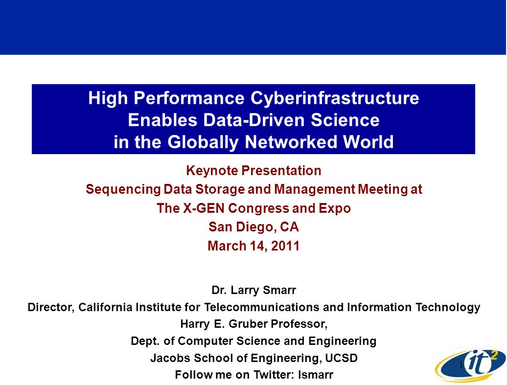Abstract High performance cyberinfrastructure (10Gbps dedicated optical channels end- to-end) enables new levels of discovery for data-intensive research projects such as next generation sequencing.
