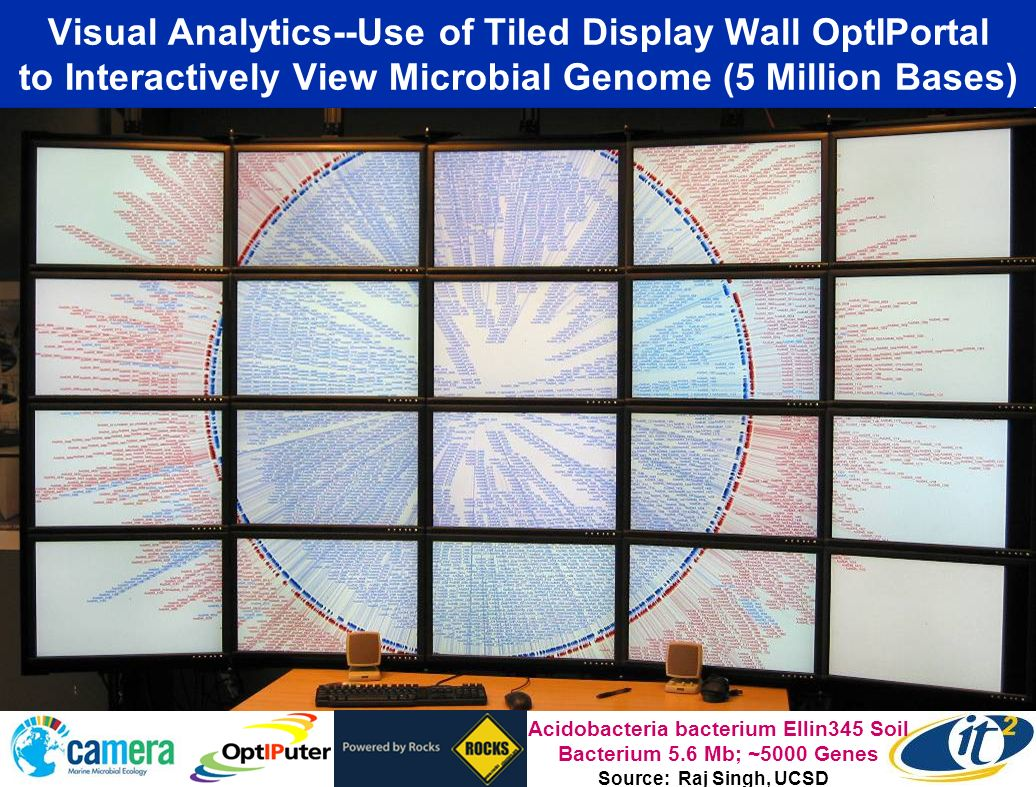 Use of Tiled Display Wall OptIPortal to Interactively View Microbial Genome Source: Raj Singh, UCSD
