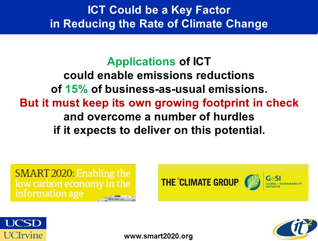 Application of ICT Can Lead to a 5-Fold Greater Decrease in GHGs Than its Own Carbon Footprint Major Opportunities for the United States* –Smart Electrical Grids –Smart Transportation Systems –Smart Buildings –Virtual Meetings * Smart 2020 United States Report Addendum www.smart2020.org While the sector plans to significantly step up the energy efficiency of its products and services, ICTs largest influence will be by enabling energy efficiencies in other sectors, an opportunity that could deliver carbon savings five times larger than the total emissions from the entire ICT sector in 2020.