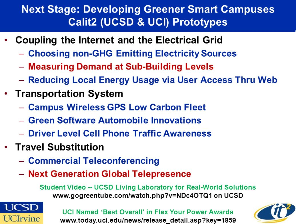 Next Stage: Developing Greener Smart Campuses Calit2 (UCSD & UCI) Prototypes Coupling the Internet and the Electrical Grid –Choosing non-GHG Emitting