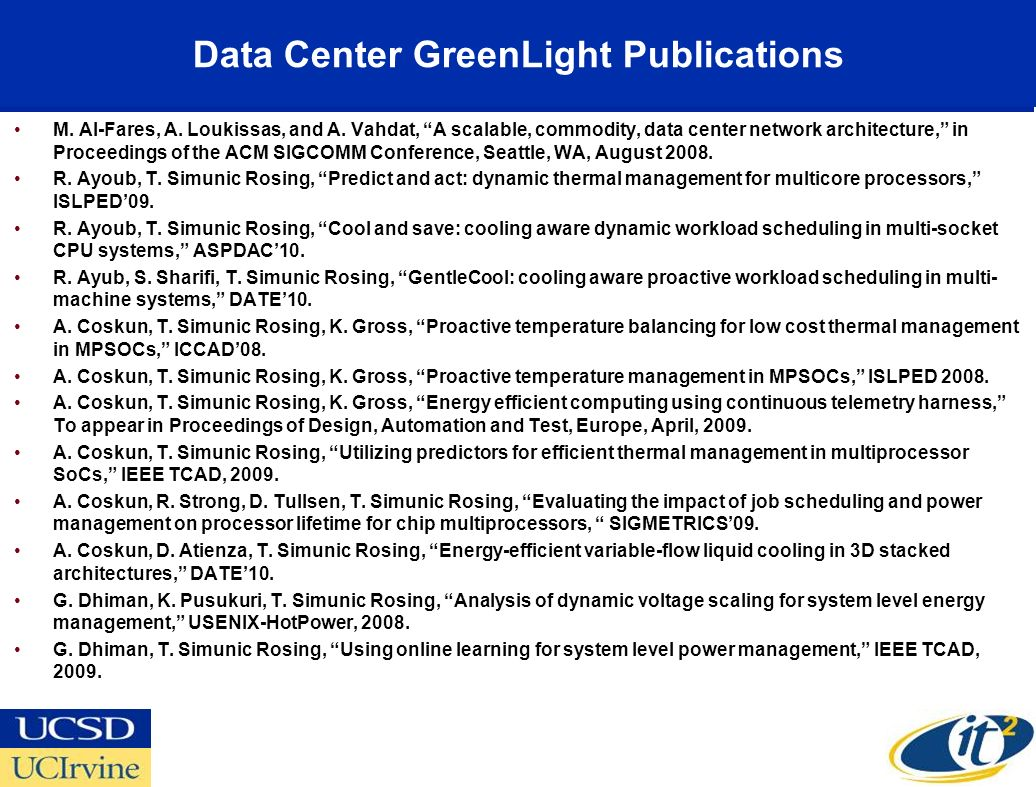 Data Center GreenLight Publications M. Al-Fares, A. Loukissas, and A. Vahdat, A scalable, commodity, data center network architecture, in Proceedings