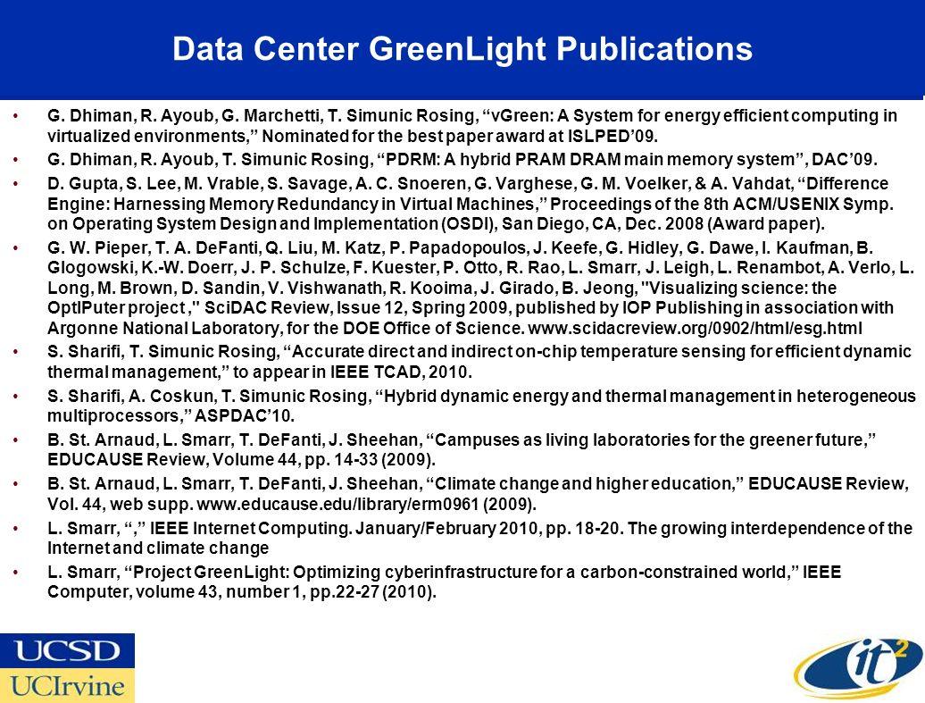 Data Center GreenLight Publications G. Dhiman, R. Ayoub, G. Marchetti, T. Simunic Rosing, vGreen: A System for energy efficient computing in virtualiz