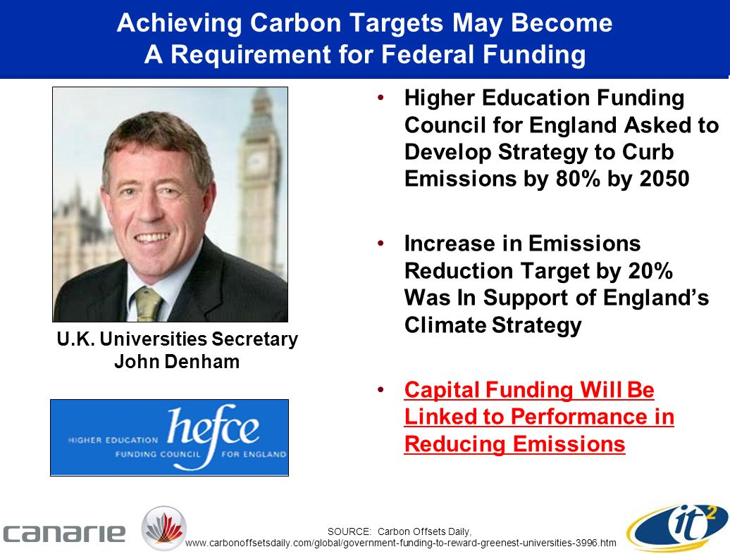 Achieving Carbon Targets May Become A Requirement for Federal Funding Higher Education Funding Council for England Asked to Develop Strategy to Curb Emissions by 80% by 2050 Increase in Emissions Reduction Target by 20% Was In Support of Englands Climate Strategy Capital Funding Will Be Linked to Performance in Reducing Emissions U.K.