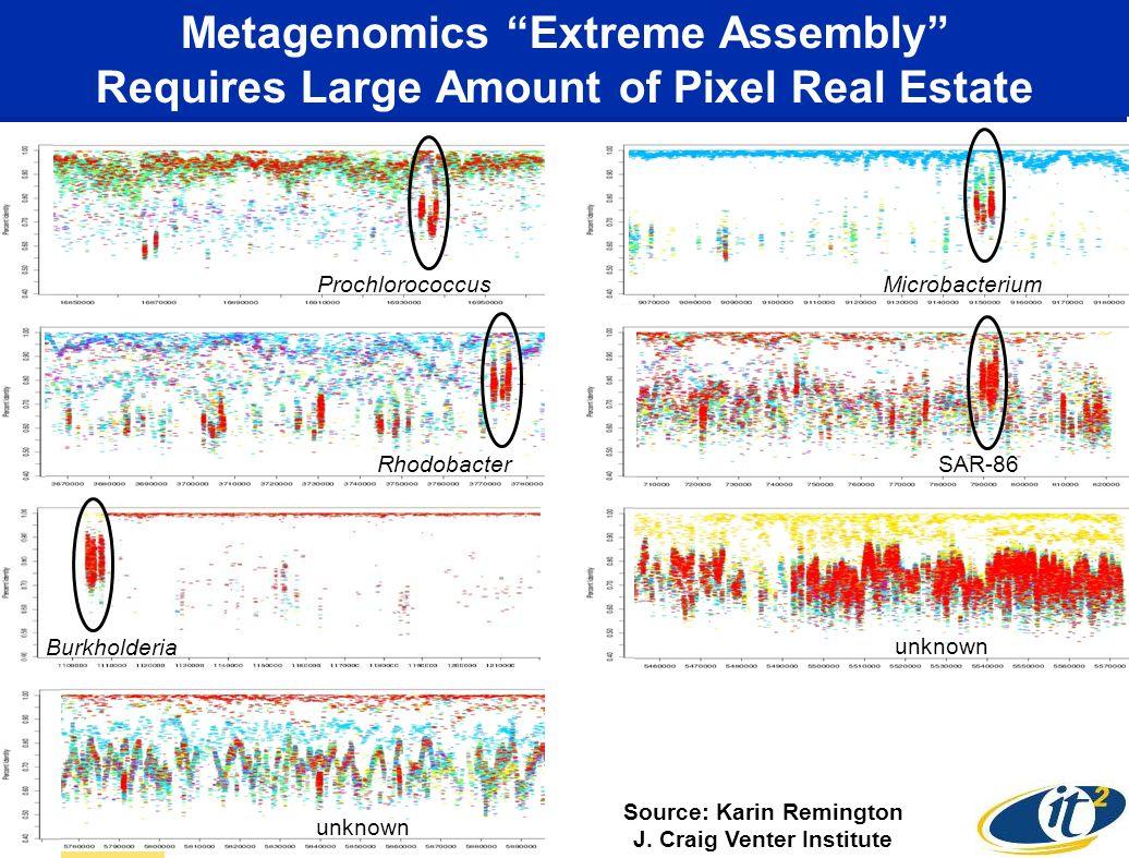 ProchlorococcusMicrobacterium Burkholderia RhodobacterSAR-86 unknown Metagenomics Extreme Assembly Requires Large Amount of Pixel Real Estate Source: Karin Remington J.