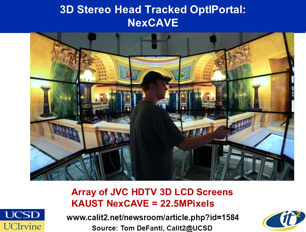 3D Stereo Head Tracked OptIPortal: NexCAVE Source: Tom DeFanti,   id=1584 Array of JVC HDTV 3D LCD Screens KAUST NexCAVE = 22.5MPixels
