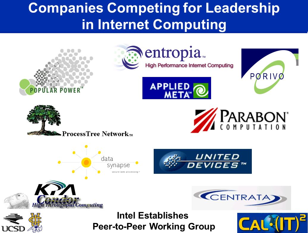Companies Competing for Leadership in Internet Computing Intel Establishes Peer-to-Peer Working Group