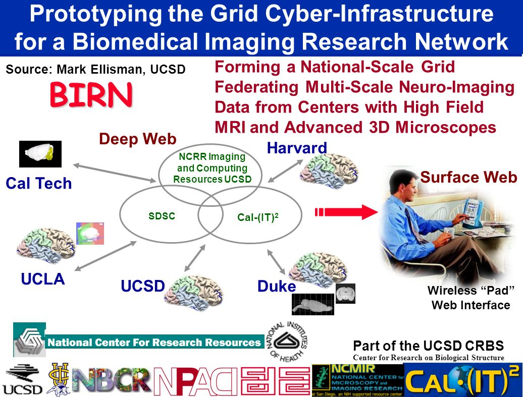 Prototyping the Grid Cyber-Infrastructure for a Biomedical Imaging Research Network Source: Mark Ellisman, UCSD Part of the UCSD CRBS Center for Resea