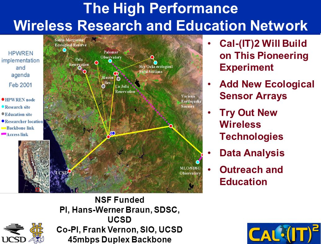 The High Performance Wireless Research and Education Network Cal-(IT)2 Will Build on This Pioneering Experiment Add New Ecological Sensor Arrays Try O