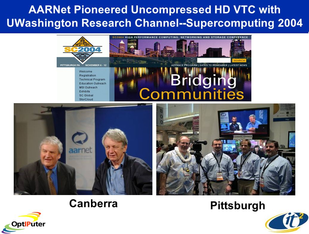 AARNet Pioneered Uncompressed HD VTC with UWashington Research Channel--Supercomputing 2004 Canberra Pittsburgh