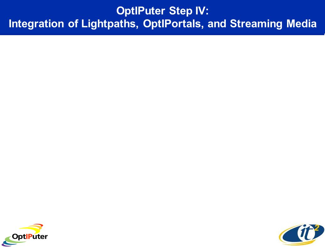 OptIPuter Step IV: Integration of Lightpaths, OptIPortals, and Streaming Media