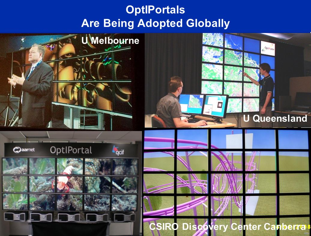 OptIPortals Are Being Adopted Globally EVL@UIC Calit2@UCI KISTI-Korea Calit2@UCSD AIST-Japan UZurich CNIC-China NCHC-Taiwan Osaka U-Japan SARA- Netherlands Brno-Czech Republic Calit2@UCI CICESE, Mexico U Melbourne U Queensland CSIRO Discovery Center Canberra