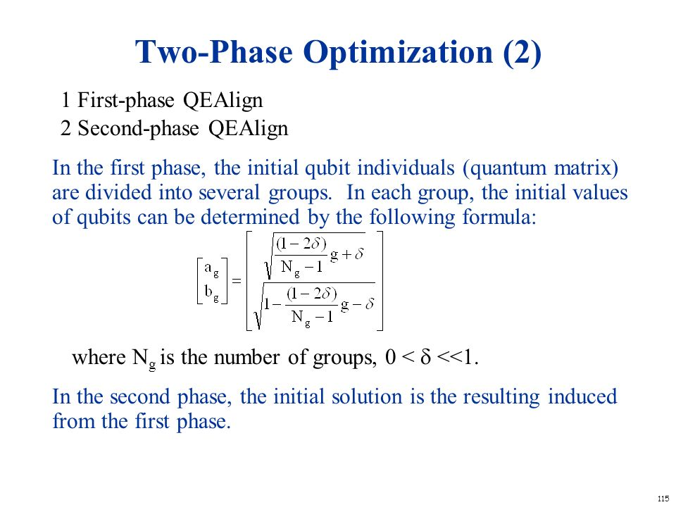 115 Two-Phase Optimization (2) 1 First-phase QEAlign 2 Second-phase QEAlign In the first phase, the initial qubit individuals (quantum matrix) are div
